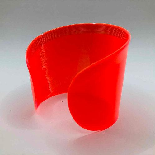 Schallplatten-Armreif: neon-orange transparent