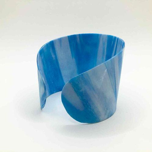 Schallplatten-Armreif: blau weiß