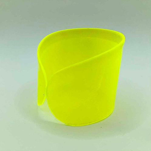 Schallplatten-Armreif: neon-gelb transparent