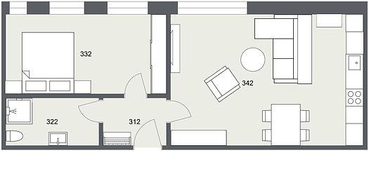 302 2kk Kunice - 1. Floor - 2D Floor Pla
