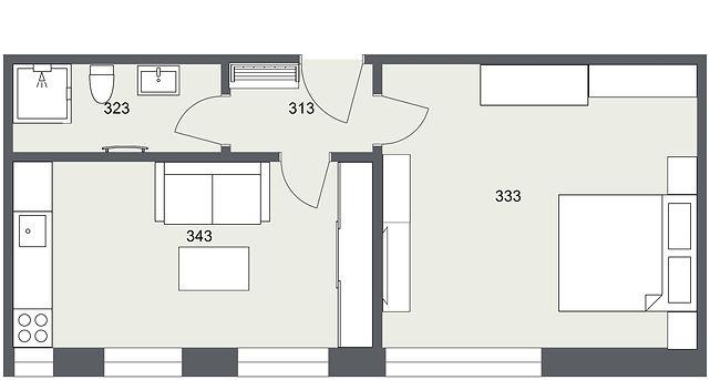 303 1+1 Kunice - 1. Floor - 2D Floor Pla