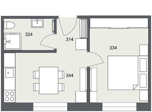 304 1+1 Kunice - 1. Floor - 2D Floor Pla