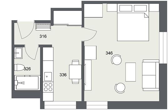 306 1+1 Kunice - 1. Floor - 2D Floor Pla