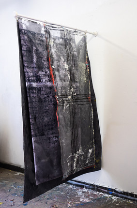 Permanent working title 3 flags  200x100cm acrylic paint on printed flags 200x100cm acrylic paint with alcohol ink on plastic sheed 210x145cm acrylic paint on canvas flagpole 140cm acrylic paint on canvas 2021