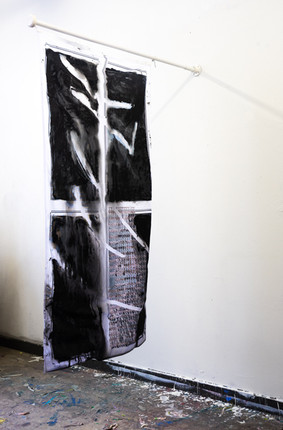 Permanent working title flag of 200cmx100cm acrylic paint on printed flags flagpole 160cm 2021