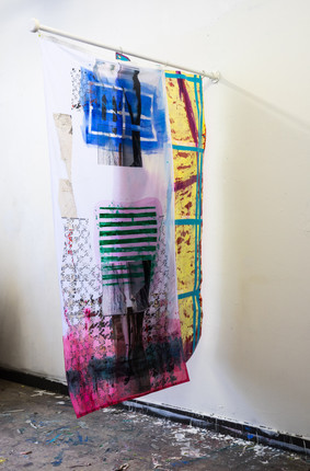 Permanent working title flags of 200cmx100cm acrylic paint on printed flags and acrylic paint on canvas flagpole 160cm 2021
