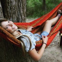 9' Single fabric hammock, great for one person to lay in a chill as well as spacious for two people