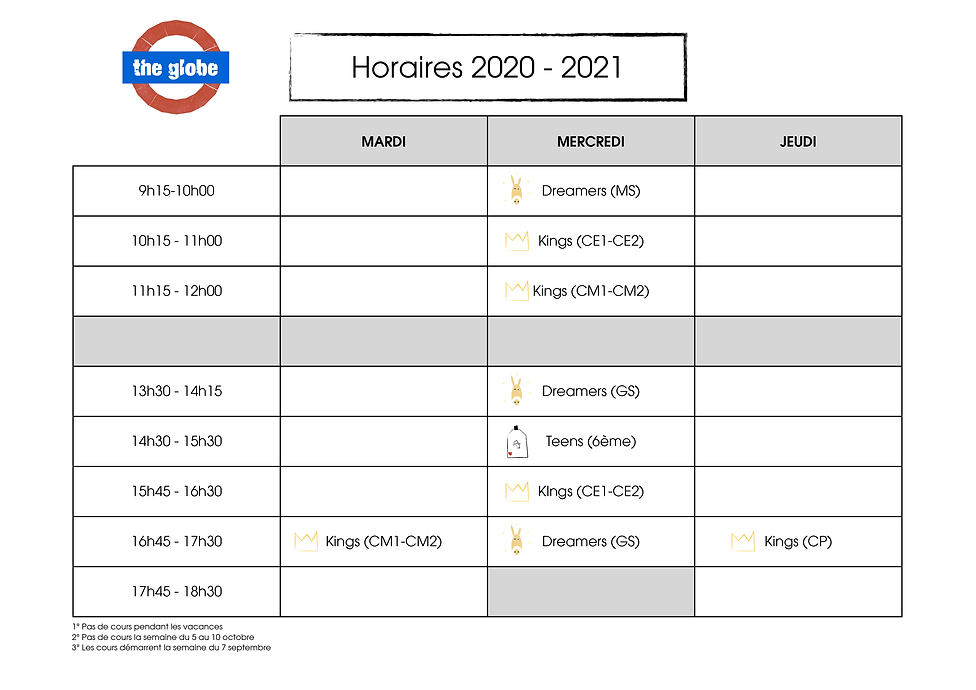 Horaires the globe 2020 - 2021.png