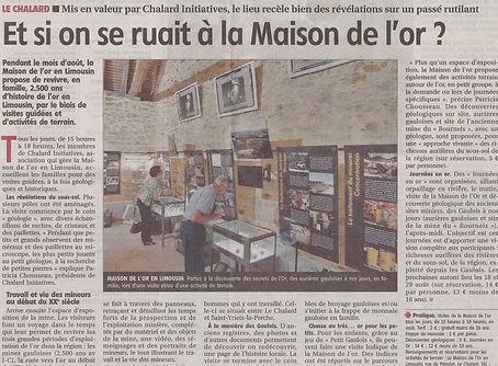 L'article de presse présente le musée, son programme et l'histoire de l'or en Limousin.
