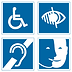 Pictogrammes des handicaps accessibles à la Maison de l'Or (moteur, visuel, auditif, mental)
