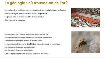 Extrait du livret FALC. La page explique la géologie de l'or, avec deux photos : lave et pépite.