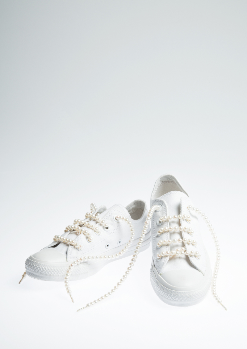 Pearl Shoes Lace Canvas Shoes