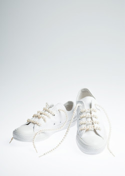 White Caves Shoes with Pearl Shoes Lace