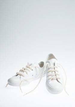 Pearl Shoes Lace Canvas Shoes