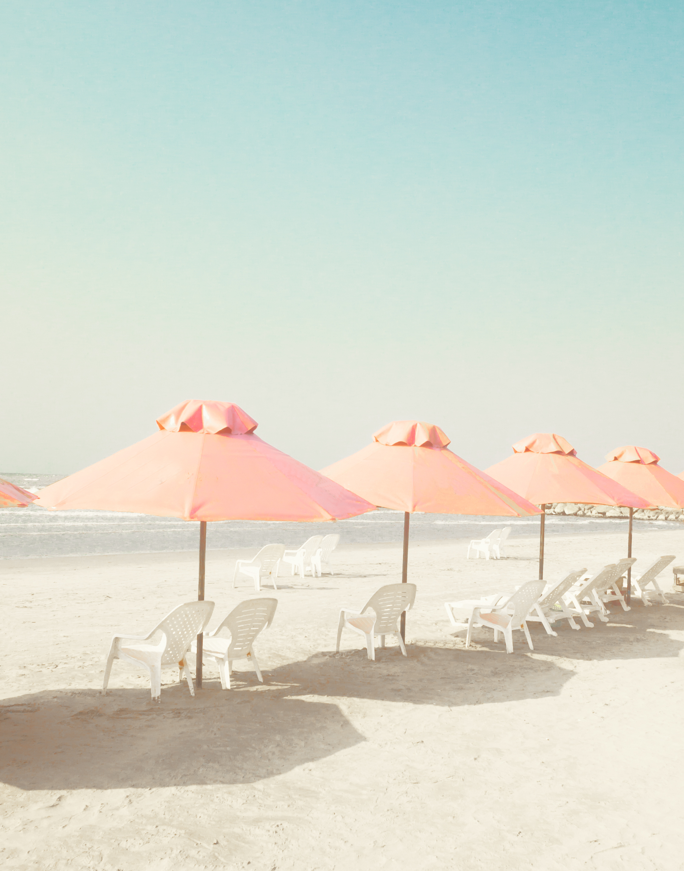 Vintage summer beach with pink pastel pa
