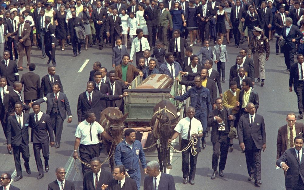 Alpha Rho Brothers escort Brother Martin Luther King, Jr.s coffin 1968
