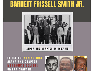 ALPHA RHO BROTHER BARNETT FRISSELL SMITH JR. (Spring 1958) ENTERS OMEGA CHAPTER OF ALPHA PHI ALPHA