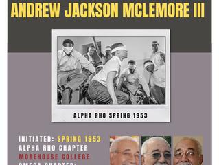 ALPHA RHO BROTHER ANDREW JACKSON MCLEMORE III (Spring 1953) ENTERS OMEGA CHAPTER OF ALPHA PHI ALPHA