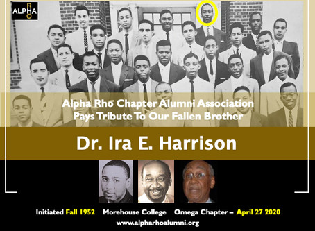 Alpha Rho Alumni Association Pays Tribute To Our Fallen Brother -- Dr. Ira E. Harrison -- Fall 1952