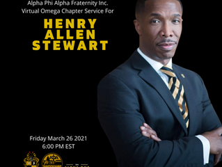 Virtual Omega Chapter Service For Brother Henry Allen Stewart -- Friday, March 26 2021 6:00 pm EST