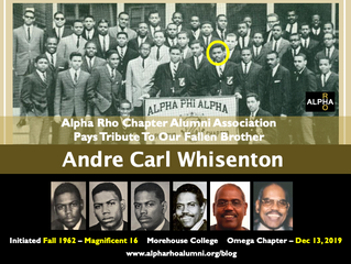 Alpha Rho Chapter Alumni Association Pays Tribute To Our Fallen Brother -- ANDRE CARL WHISENTON -- F