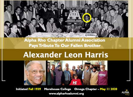 Alpha Rho Chapter's Oldest Alumni Brother Alexander Leon Harris (Fall 1939) Passes At 103