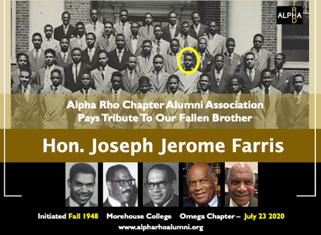 Alpha Rho Alumni Pays Tribute To Our Fallen Brother -- Hon. Joseph Jerome Farris (Fall 1948)