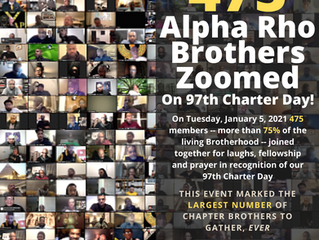 Largest Gathering Of Alpha Rho Alums Takes Place On 97th Charter Day -- 475 Bros Go Virtual On Zoom!