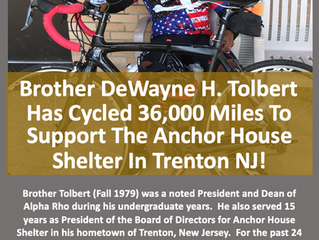 Brother DeWayne H. Tolbert (Fall 1979) Has Cycled 36,000 Miles To Support The Anchor House Shelter I