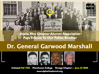 Alpha Rho Alumni Pays Tribute To Our Fallen Brother -- General Garwood Marshall -- Fall 1955