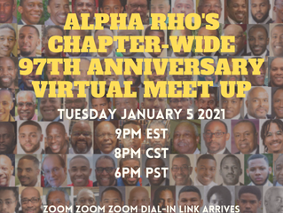 97th Alpha Rho Charter Day Zoom Meet-Up -- SAVE THE DATE: Tuesday JANUARY 5 2021