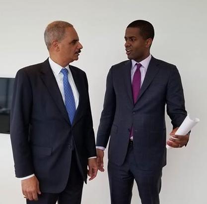 Former U.S. Attorney General Eric Holder and Bakari Sellers