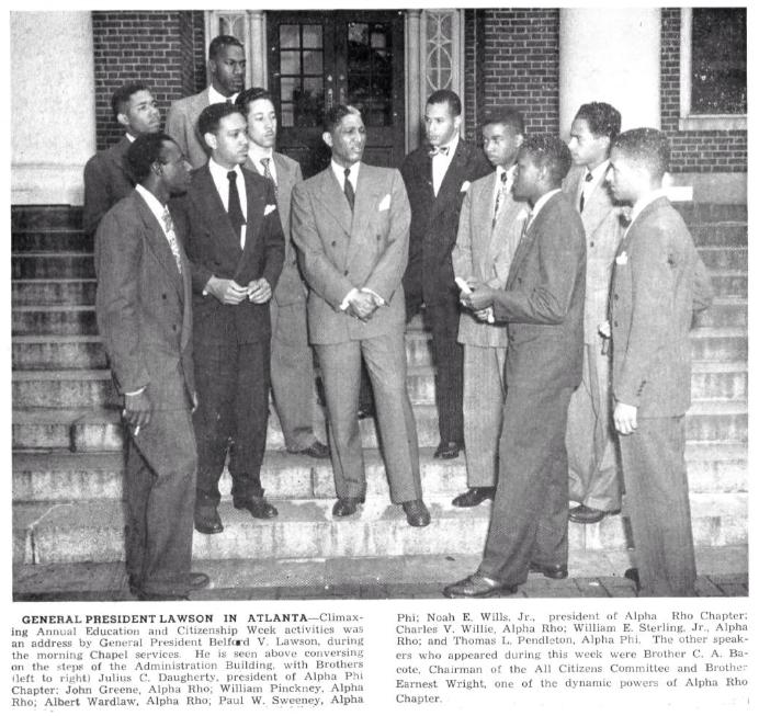 Noah Wills, Jr. President, Alpha Rho w_ Gen. President Belford V. Lawson in Spring 1948