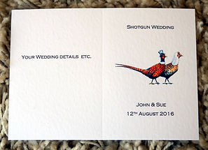 wedding shoot card invitiation bespoke personalised pheasants, shoot cards, game cards