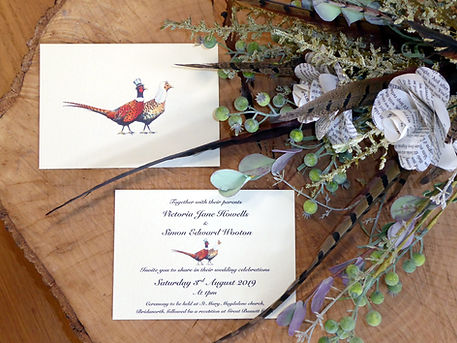 pheasant feather bouquet, paper roses, shoot wedding, pheasant wedding invitation, game cards, shoot cards, bag cards