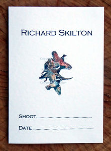 Bespoke, personalised shoot card featuring a pheasant, partridge and duck