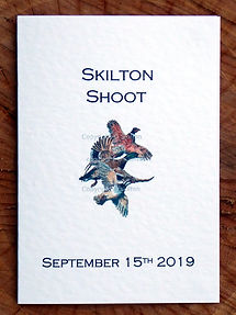 Bespoke shoot card front cover with pheasant, duck and partridge