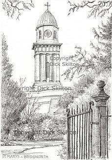 st marys church, bridgnorth, church artwork, wedding invitation, shropshire artist, shoot cards, game cards