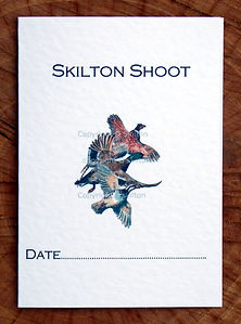 Bespoke shoot card featuring flying pheasant, duck and partridge