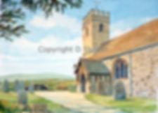 Church artwork, watercolour, dick skilton, artist, shropshire, shoot cards, game cards