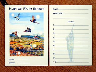 shoot card, game card, bag card, pheasant shoot card, pheasant shoot, game shoot, grouse shoot, duck shoot, bespoke cards