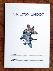 Bespoke shoot card with pheasant, duck partridge and also the date and beaters day