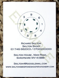 Bespoke personalised shoot card showing peg number wheel along with personalised information