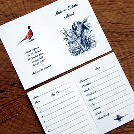 bespoke shoot cards, game cards, pheasant