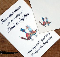 pheasant wedding cartoon image, save the date card, shoot wedding, shoot cards, game cards