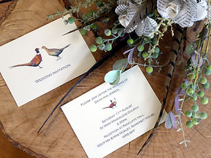 Shoot themed wedding, pheasant wedding, pheasant feather bouquet, shoot invitiations, pheasant wedding, game shooting, shoot cards, game cards