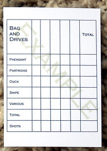Bespoke personalised shoot cards showing bag and drive grid
