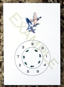 Bespoke personalised shoot cards with a pegnumber wheel and pheasant partridge and duck
