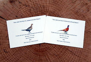 Stag and Hen invitiations, Pheasant stationery, Wedding invitiations, Shoot cards, Pheasant cards, game cards