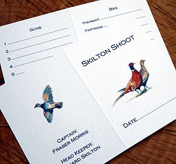 shoot card, game card, brace of pheasants, partridge